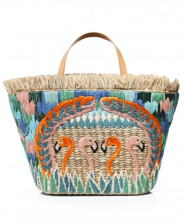 Aranaz Women's Flamingo Straw Tote Bag