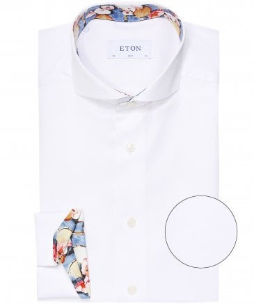 Slim Fit Floral Racquet Trim Shirt
