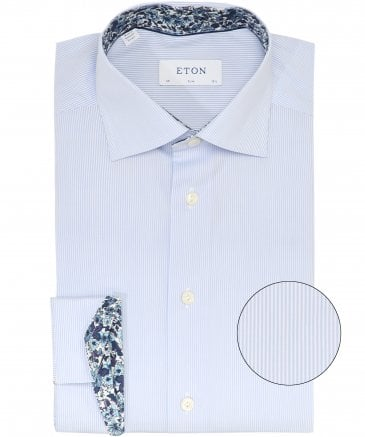 Slim Fit Floral Trim Striped Shirt