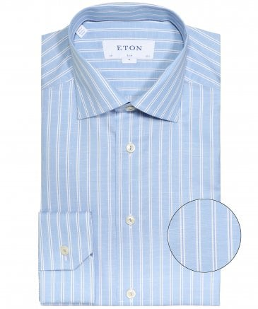 Slim Fit Linen Blend Striped Shirt