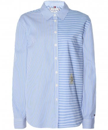 Tommy Hilfiger Women's Feclicity Mixed Stripe Relaxed Fit Shirt