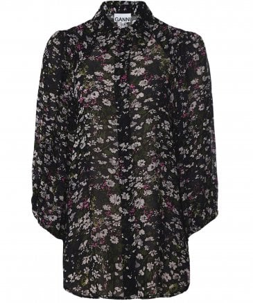 Ganni Women's Floral Button Down Blouse