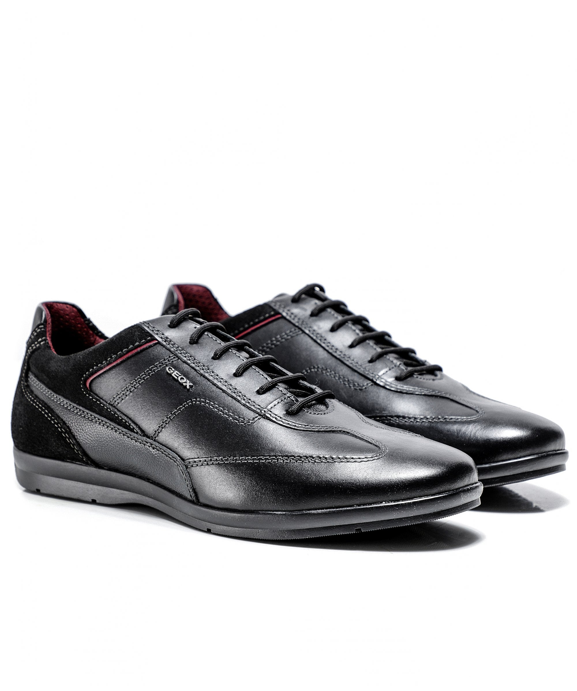Geox Black Leather Adrien Trainers