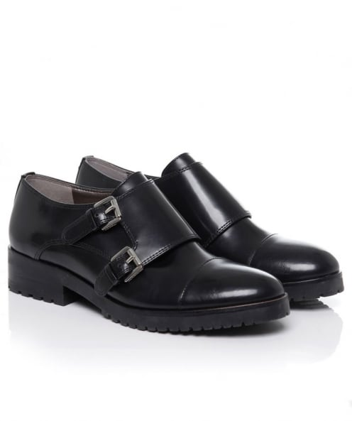 Melanie Leather Double Buckle Shoes