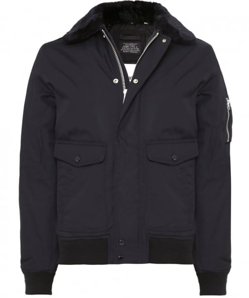 Schott Faux Fur Collar Flight Jacket