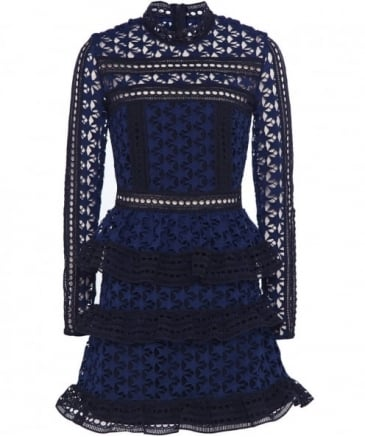 High Neck Star Lace Panel Dress
