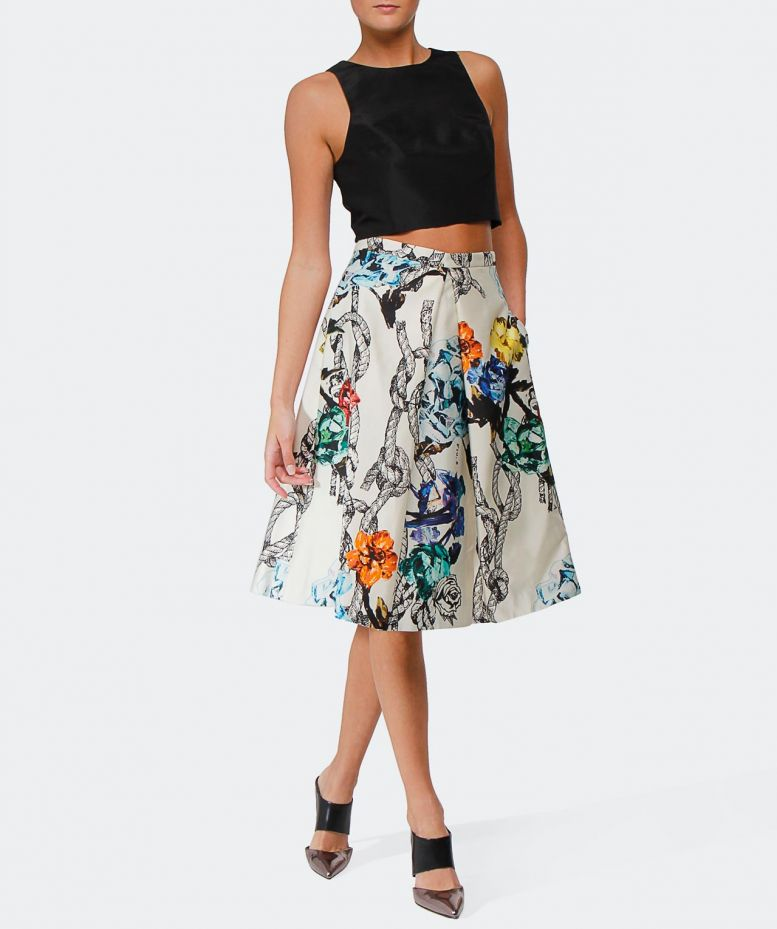 tibi multi pleated floral silk skirt available at jules b
