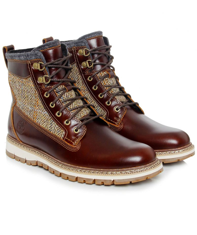 timberland brown britton hill lined leather boots