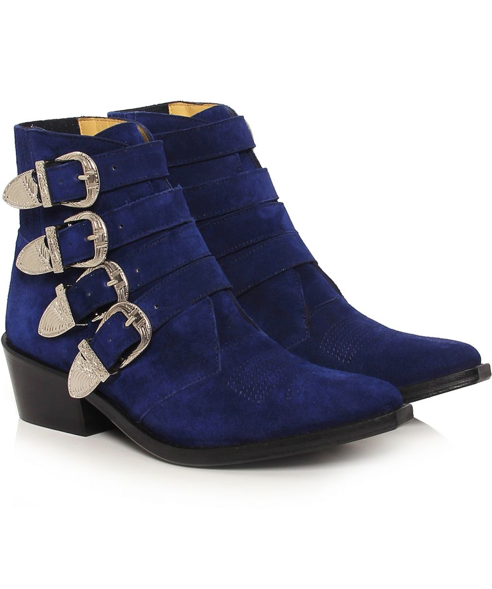 toga pulla navy suede buckle boots available at jules b