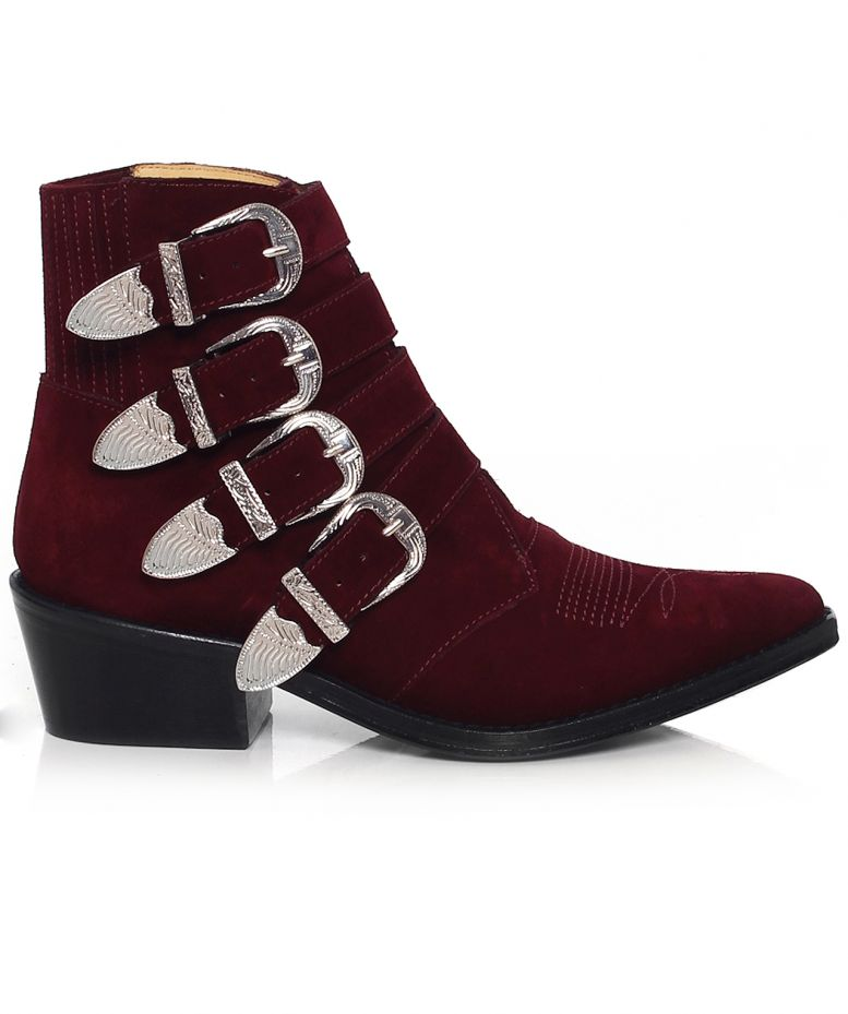 toga pulla burgundy suede buckle boots available at jules b